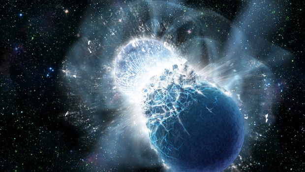Artist's depiction of a neutron star collision after inspiral. Credit: NASA/ Swift/ Dana Berry