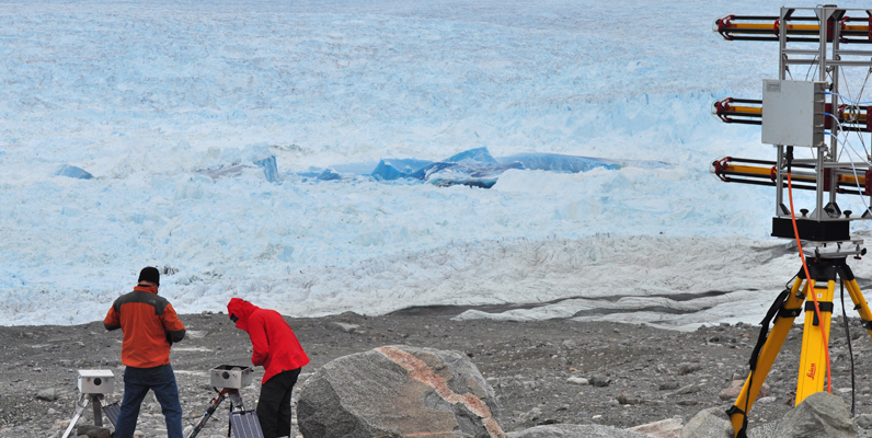 Courtesy of Ryan Cassotto, Mark Fahnestock and Santiago De La Pena servicing equipment near GPRI device near Jakobshavn Isbrae in Greenland