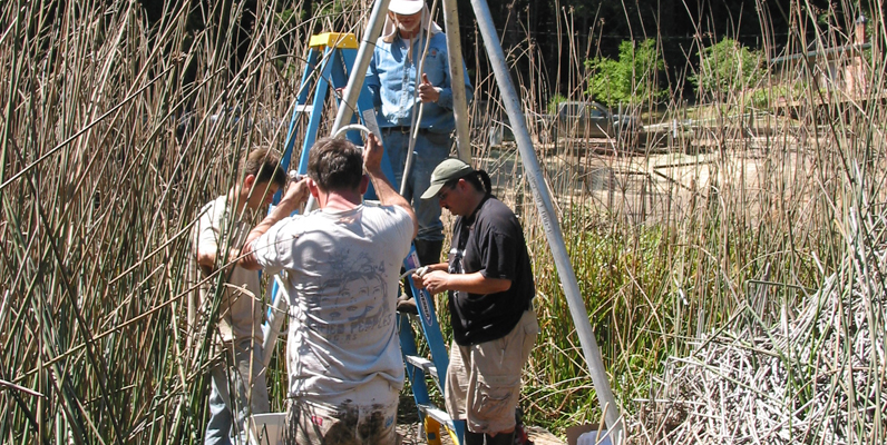 Courtesy of Roberta Jewett, coring of Skylark Pond that produced a 3200-year paleoecological record of pollen and charcoal