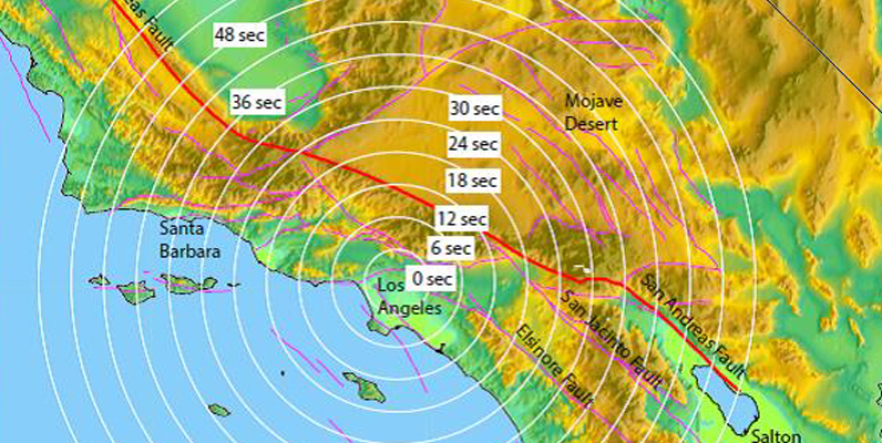 Courtesy of Dr. E. Hauksson, Caltech- early earthquake warning SoCal travel time