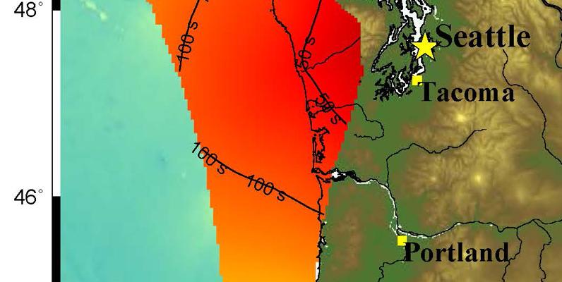 Courtesy of  John Vidale, University of Washington- EEW minimum warning time to start of shaking in Seattle