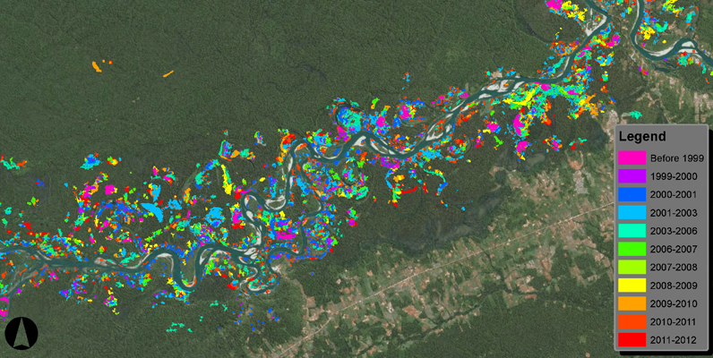 Courtesy of Greg Asner, CLASlite - CLASlite map showing areas along the Madre de Dios river damaged by gold mining between 1999 and 2012