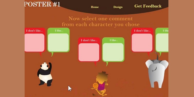 Courtesy of AAA Lab Stanford University - screenshot from Posterlet game, choosing negative or positive feedback